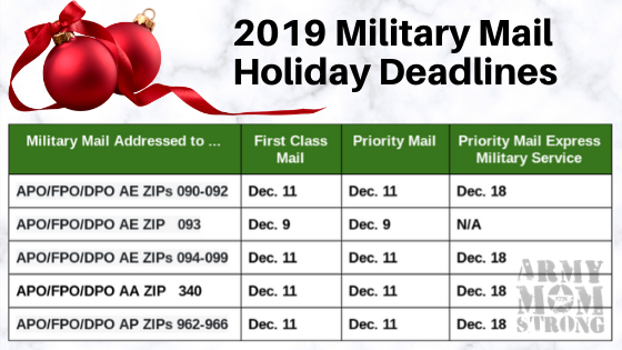 2019 military mail holiday deadline