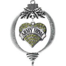 Inspired Silver Army Mom Pave Heart Holiday Decoration Christmas Tree Ornament
