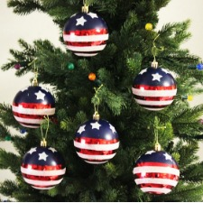 Patriotic Christmas tree ornaments in gift box